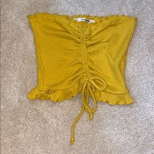 Yellow drawstring tube top